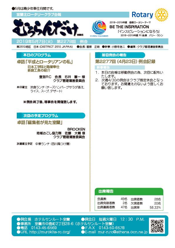 2019年5月7日(火) 第2278回 例会