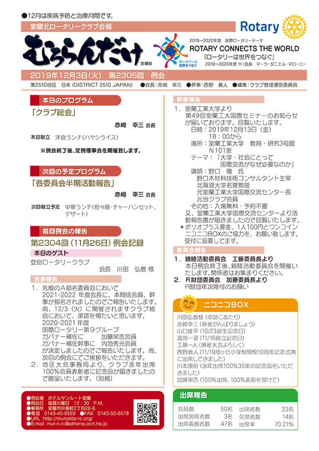 2019年12月3日(火) 第2305回 例会